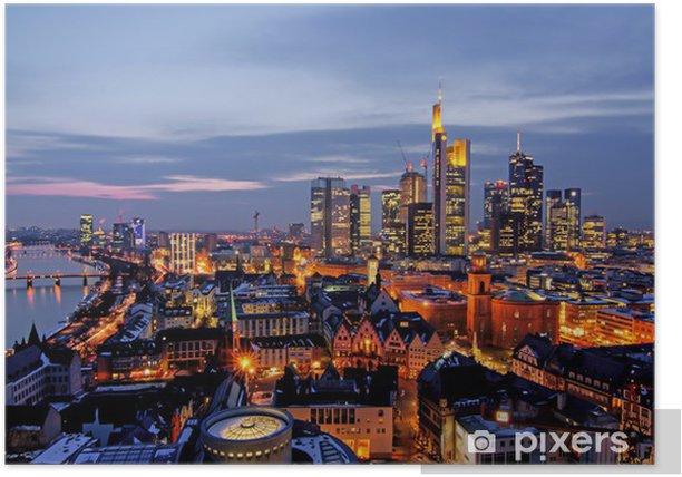 Plakat Frankfurt w nocy z góry - Europa