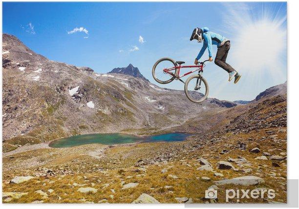 Plakat Free style w wysokich górach - Kolarstwo