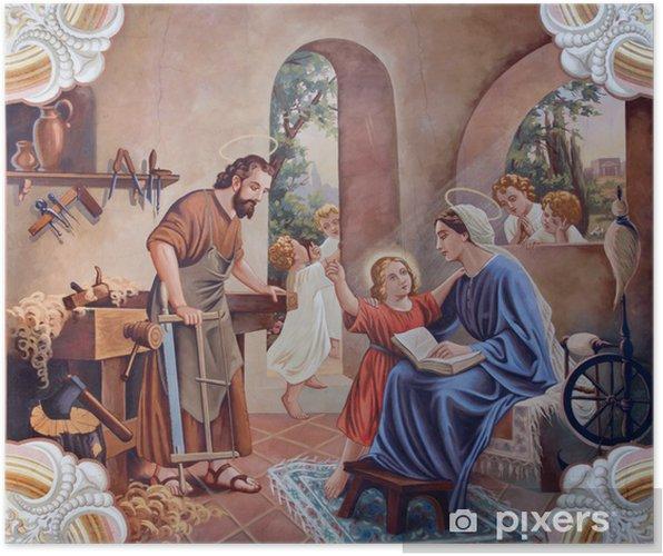 Plakat Fresk świętej Rodziny Z Wiejskiego Kościoła