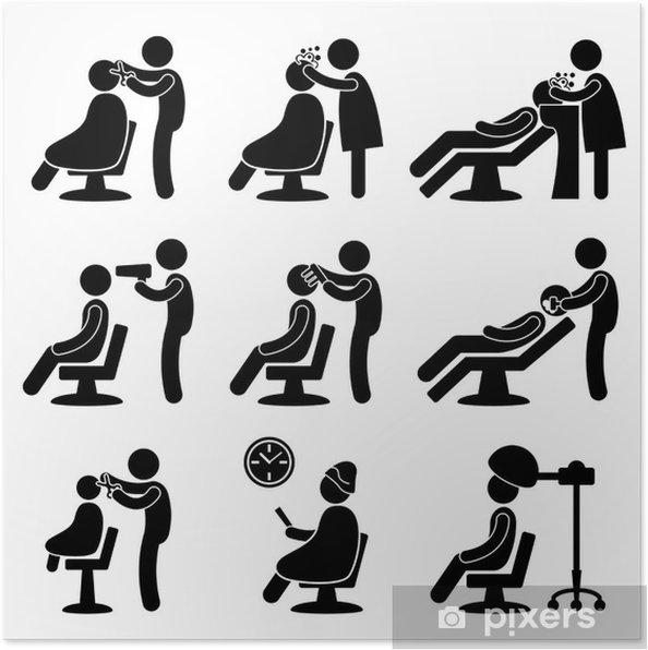 Plakat Fryzjer Fryzjer Salon Fryzjerski Symbol Znak Ikona Piktogram