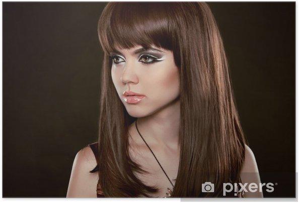Plakat Fryzura Piękne Kobiety Z Długo Zdrowych Brązowe Włosy Isola