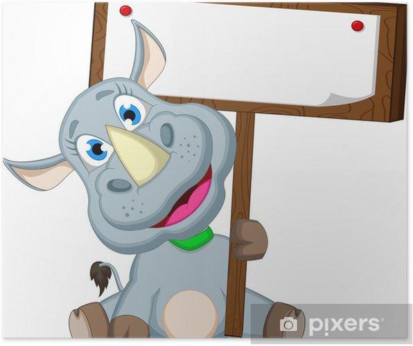 Plakát Funny cartoon nosorožec s prázdnou znamení - Savci