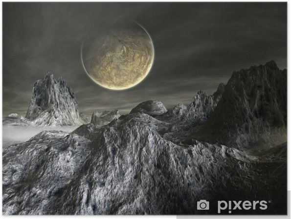 Plakát Futuristic Alien Planet - Meziplanetární prostor