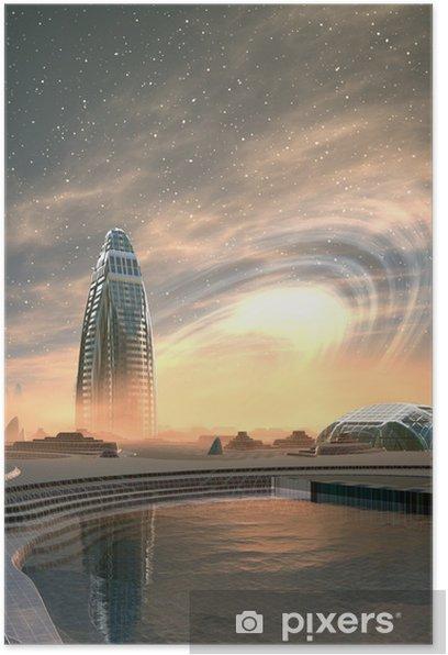 Plakát Futuristický Alien City - počítačové kresby - Meziplanetární prostor