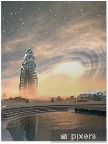 Plakat Futurystyczny obce miasto - grafika komputerowa - Przestrzeń kosmiczna