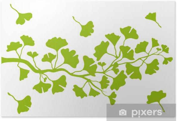Plakat Gałąź z liśćmi ginkgo, wektor - Zdrowie i medycyna