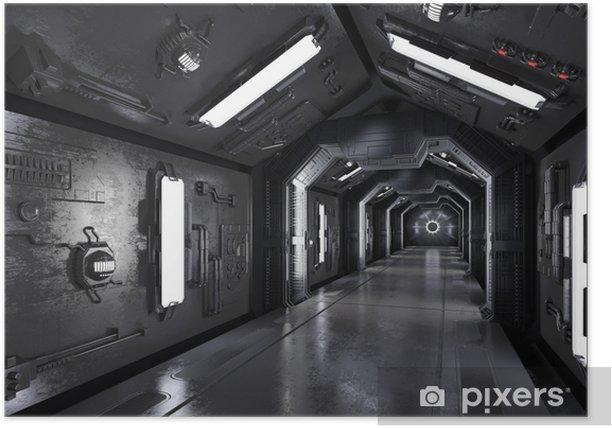 Plakat Gang innen durch ein dunkles raumschiff - Nauka