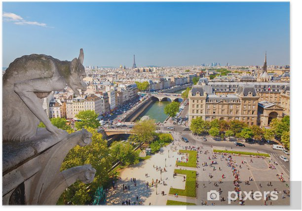Plakat Gargulec na katedrze Notre Dame - Podróże