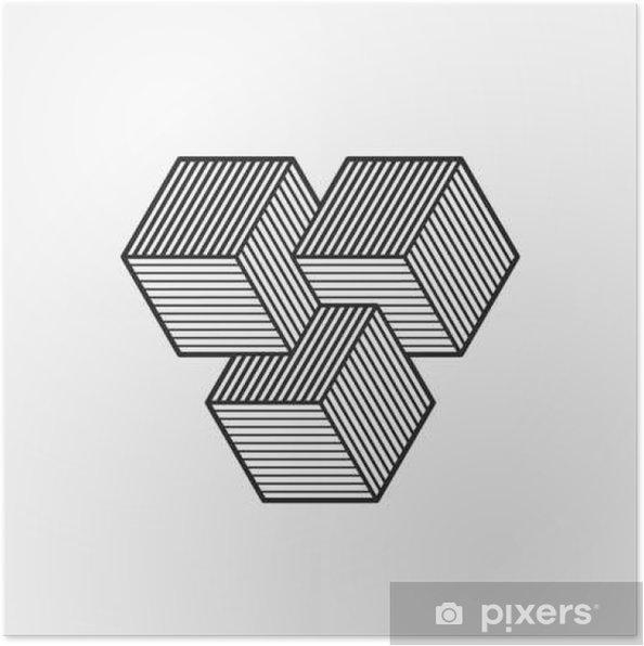 Efterstræbte Plakát Geometrická optický klam. Kostky. Vektorové ilustrace, eps ID-68