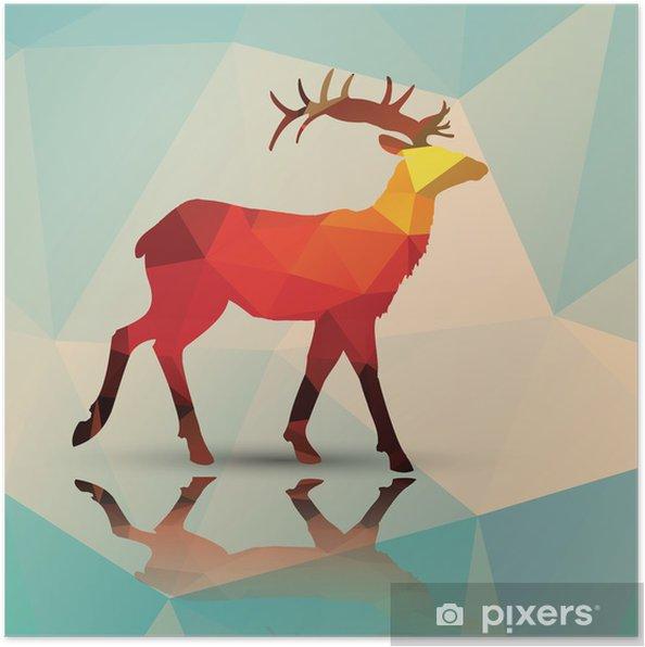 Plakat Geometryczne wielokąta jelenie, wzornictwo, wektor - Tematy