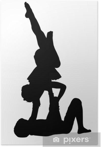Plakat Gimnastyka akrobatyczna chłopak dziewczyny w powietrzu równoważenia - Sporty indywidualne