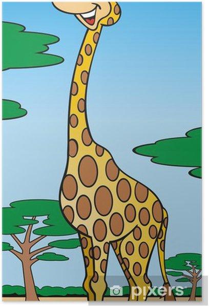 Plakat Giraffe in der Savanne - Ssaki