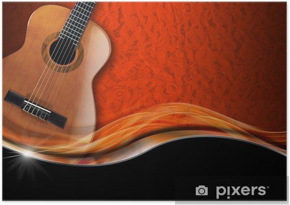 Plakat Gitara akustyczna na tle luksusowych - Tematy