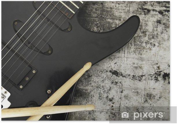 Plakat Gitara elektryczna na tle grunge - Tematy