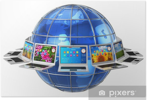 Plakát Globální počítačová komunikační koncept - Prvky podnikání