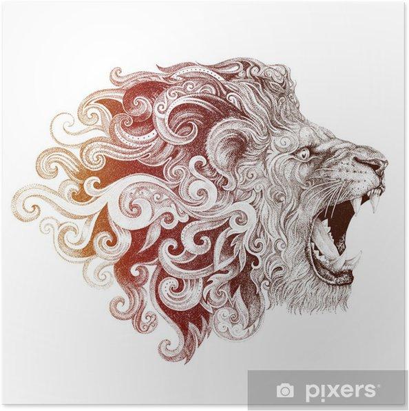 Plakat Głowa lwa tatuaż szczerząc - Ssaki