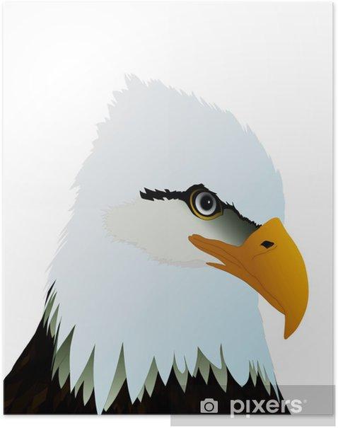 Plakat Głowa orła na białym tle - Naklejki na ścianę