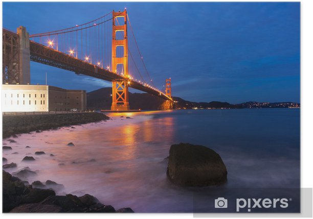 Plakat Golden Gate Bridge w nocy - Tematy