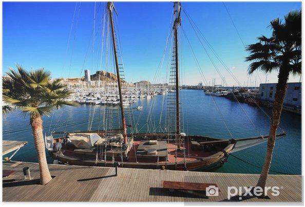 Plakat Goleta w porcie w Alicante - Wakacje