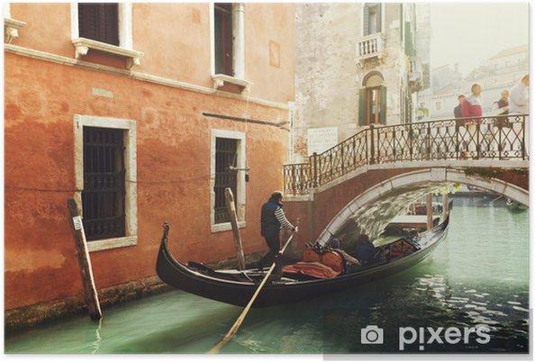 Plakát Gondola na kanálu v Benátkách, Itálie - Evropská města