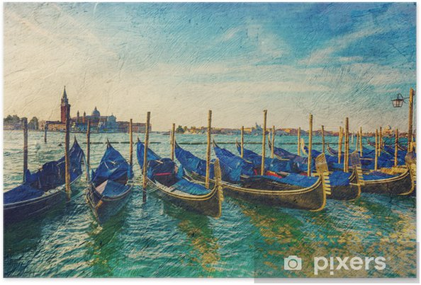 Plakat Gondole - obraz w artystycznym stylu retro. - Miasta europejskie