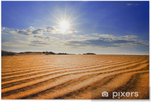 Plakat Gorące słońce pod czerwonym wydmy. - Azja