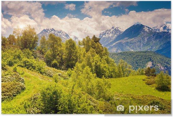 Plakat Górski krajobraz Gruzji - Góry