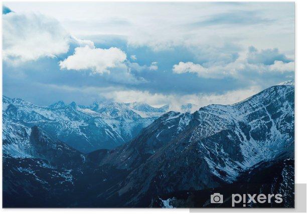 Plakat Górski krajobraz śnieżna zima - Góry