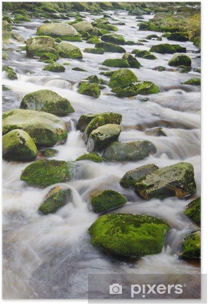 Plakat Górskie rzeki wodospad - Woda