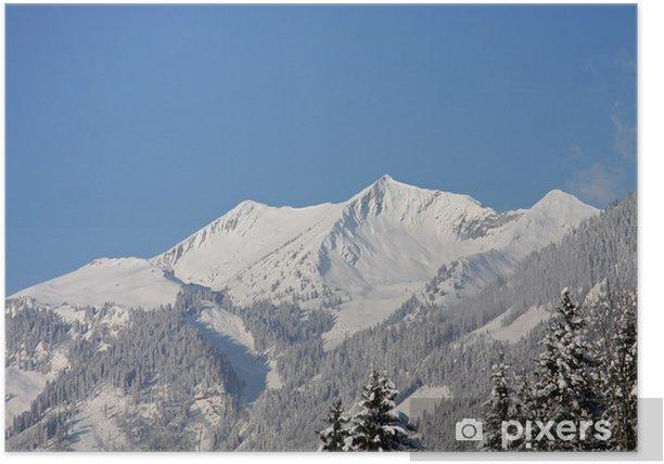 Plakat Góry z śniegu w zimie - Wakacje