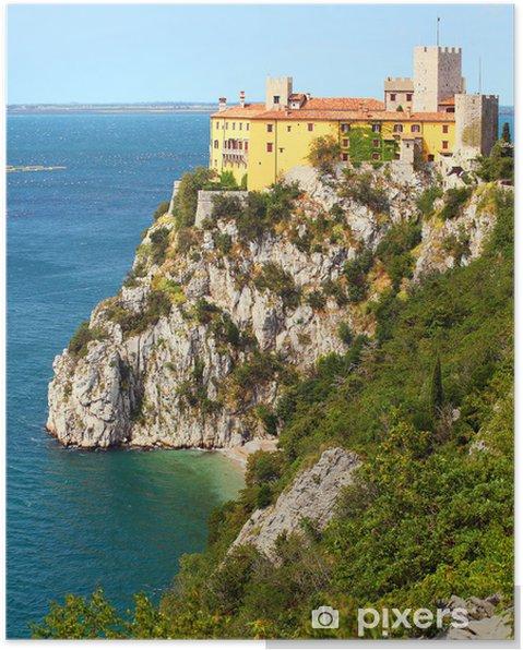 Plakat Gothic Duino zamek na klifie nad Morze Adriatyckie, Włochy. - Miasta europejskie