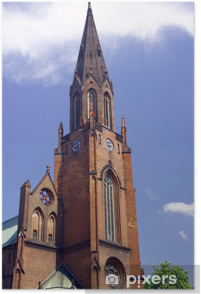 Plakat Gotycki kościół z wieżą w Poznaniu. - Budynki użyteczności publicznej