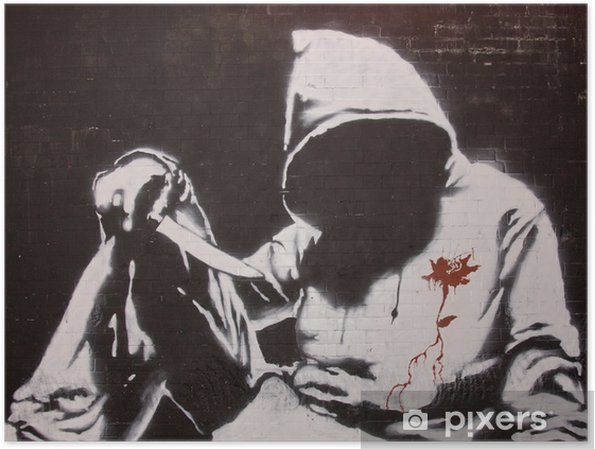 Plakat Graffiti Banksy'ego na festiwalu puszki, Londyn - Tematy