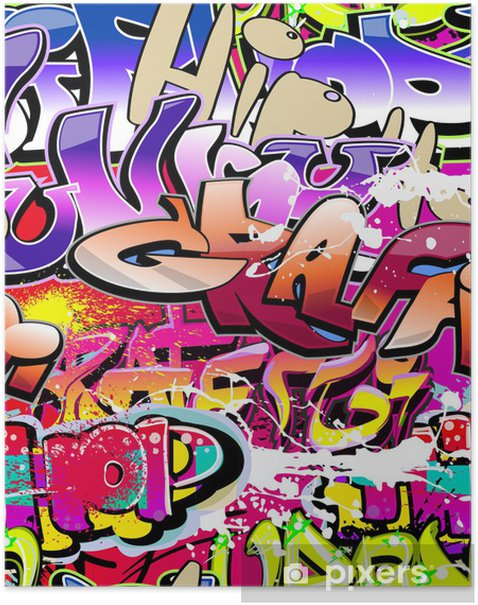Plakat Graffiti bezszwowe tło. hip-hop miejskiego sztuki - Tematy