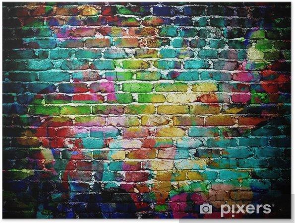 Plakat Graffiti mur ceglany -