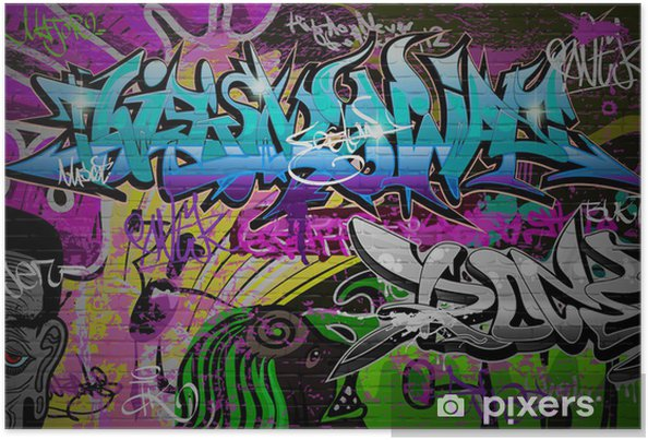 Plakat Graffiti ściany tła miejskiego sztuki - Tematy