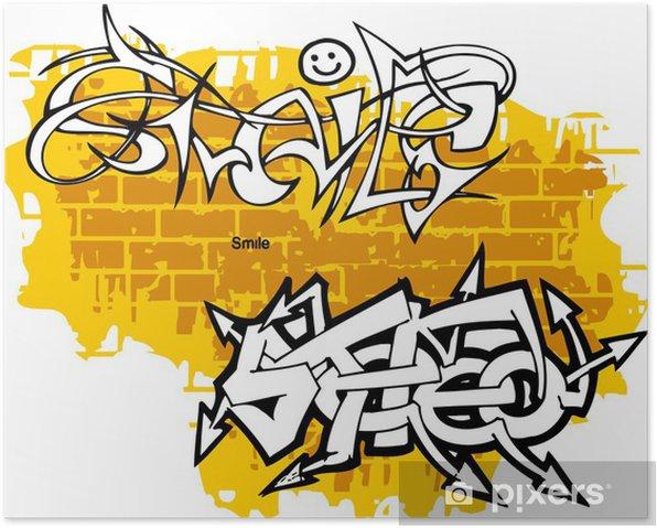 Plakat Graffiti-Smiley koniec stereo. - Sztuka i twórczość
