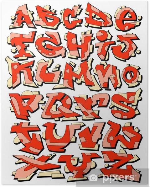 Plakat Graffiti Urban Art czcionki Alfabet - Tematy