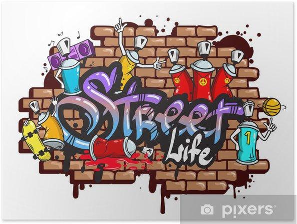 Plakat Graffiti znaki słowne skład - Naklejki na ścianę