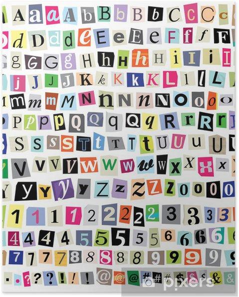 Plakat Grafika Ransom Note-Cut Listy papierowe, liczb, symboli - Tematy