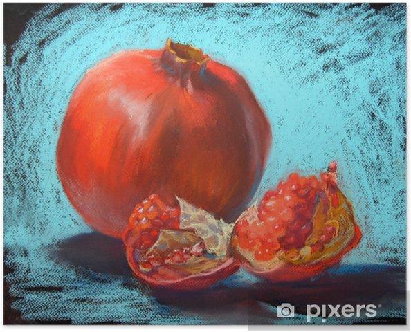 Plakat Granat pastele malowanie ilustracji, bight turkusowy niebieskim tle - Jedzenie