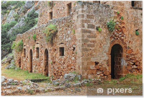 Plakat Grecja, Kreta - Kathalikos klasztor - Budynki użyteczności publicznej