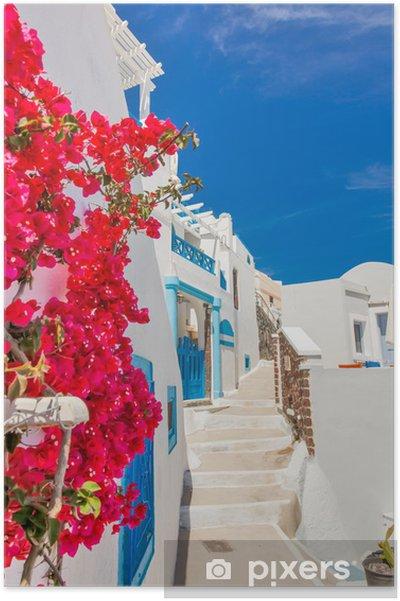 Plakat Grecja Santorini wyspa w archipelagu Cyklady, tradycyjne zabytki kolorze - Tematy