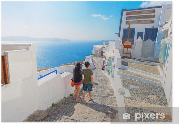 Plakat Grecja słynne Santorini, Cyklady, panoramiczny widok na tr - Miasta europejskie