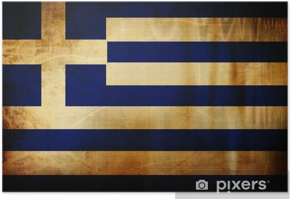Plakat Grecką banderą -