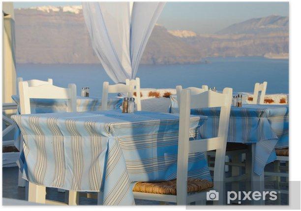 Plakat Grecka tradycyjna restauracja w Santorini, Grecja - Europa