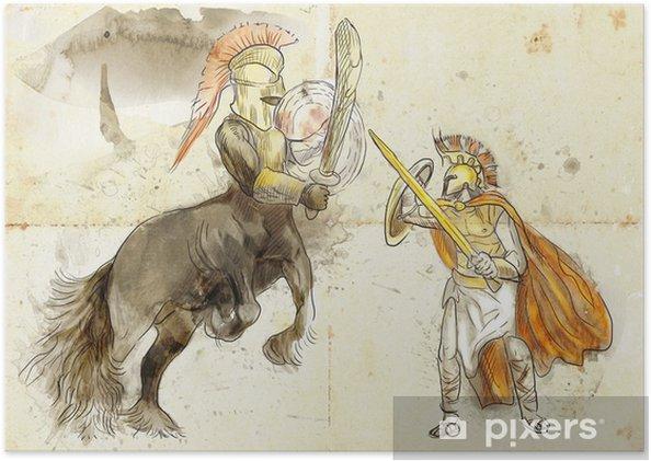 Plakat Grecki mit i legendy (pełnowymiarowa rysunek) - Centaur, Tezeusz - Fikcyjne zwierzęta