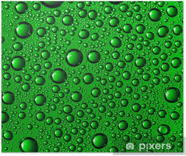 Plakat Green water drops - Abstrakcja