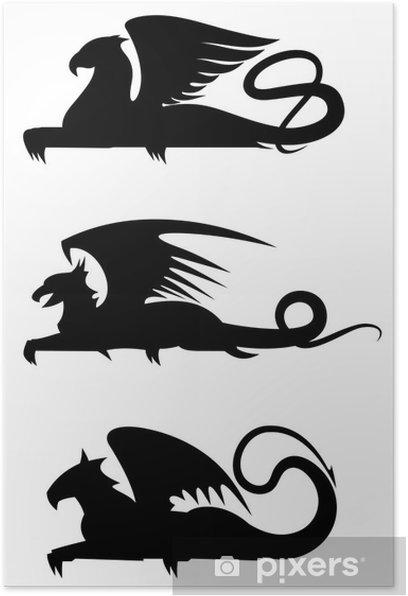 Plakát Griffin siluety - Imaginární zvířata