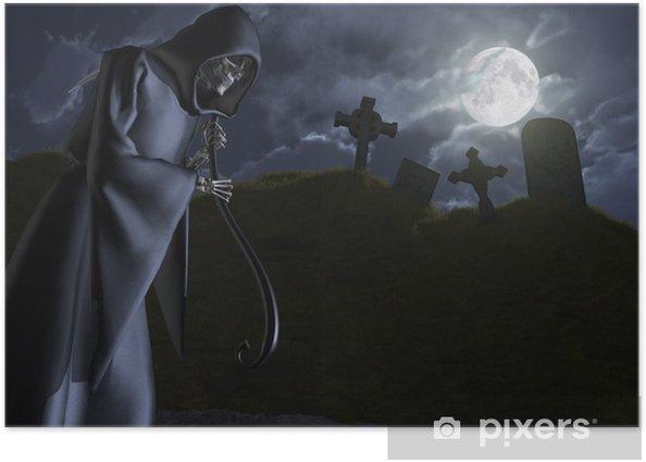 Plakát Grim Reaper stonky a hřbitov - Mezinárodní svátky